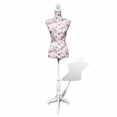 vidaXL Ladies Bust Display Mannequin Cotton White with Rose Tailor Cloth Model