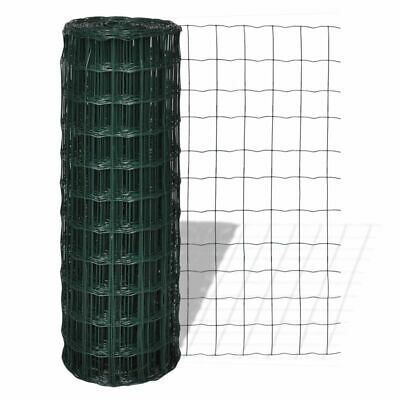 vidaXL Euro Fence Panel Screen Barrier 10x1.5 m with 76x63 mm Mesh Steel Green