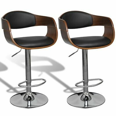 vidaXL 2x Bar Stools Bent Wood and Faux Leather Office Kitchen Swivel Seat