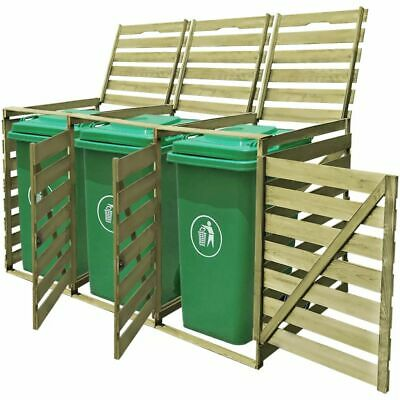 vidaXL Triple Wheelie Bin Shed 240L FSC Impregnated Wood Patio Container Cover