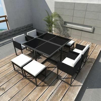 vidaXL Outdoor Dining Set 21 Pieces Black Poly Rattan Garden Table and Chairs