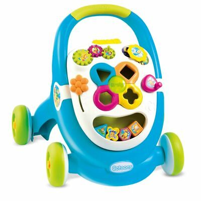Smoby Cotoons 2-in-1 Activity Walker Baby Toddler Push Stroller Blue 110303