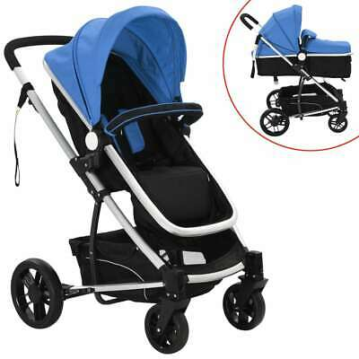vidaXL 2-in-1 Baby Toddler Stroller Pram Pushchair Buggy Aluminium Blue+Black