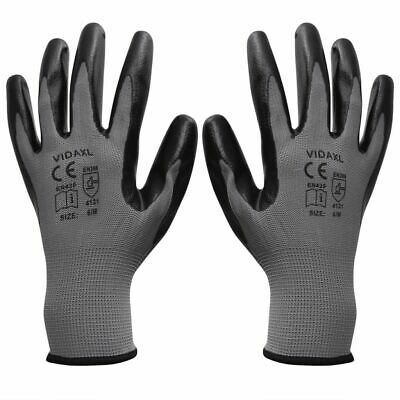 vidaXL Work Gloves Nitrile 24 Pairs Grey and Black Size 9/L Safety Protector