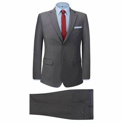 vidaXL Men's 2 Piece Business Suit Grey Size 54 Wedding Formal Jacket Trousers