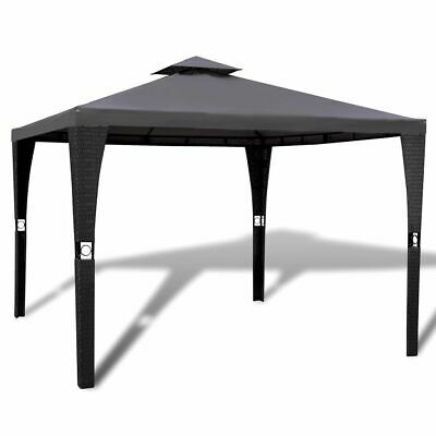 vidaXL Gazebo with Dark Grey Roof 3x3m Poly Rattan Patio Canopy Marquee Tent