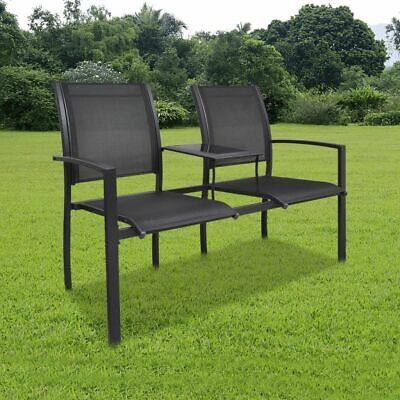 Outdoor Double Chair 2-Seat Garden Seating Furniture Steel Frame Textilene
