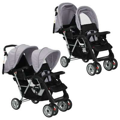 vidaXL Tandem Stroller Steel Grey and Black Child Toddler Pram Pushchair Buggy