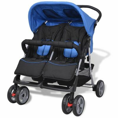 vidaXL Baby Twin Stroller Steel Blue and Black Travel Pram Pushchair Buggy
