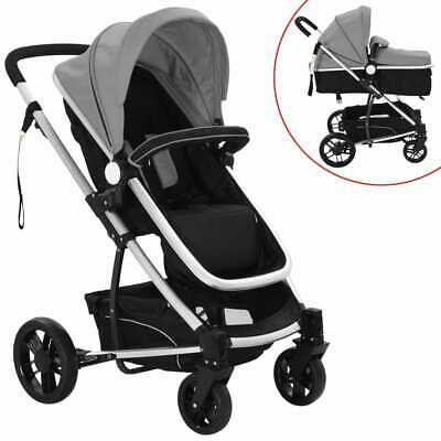 vidaXL 2-in-1 Baby Stroller Pram Aluminium Grey and Black Buggy Pushchair