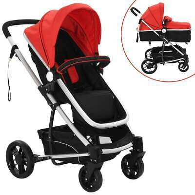 vidaXL 2-in-1 Baby Stroller Pram Aluminium Red and Black Toddler Pushchair