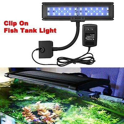 30LED Aquarium Light Clip On Fish Tank Clamp Flexible Marine Lamp with US Plug