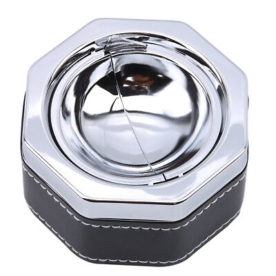 Metal Leather Portable Car Cigarette Smokeless Ashtray Holder With Lid LG