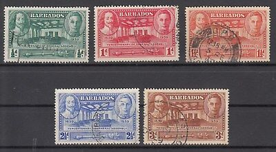 Barbados: 1939 General Assembly set of 5. SG 257-261. F/used. Scarce & Cheap