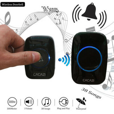 300M Remote Waterproof LED Wireless Doorbell 38 Songs Chime Door Bell EU/US/UK Z
