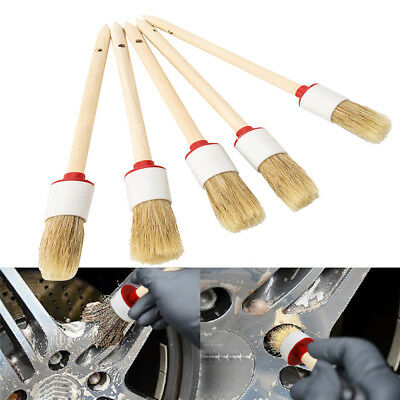5PCS Soft Detailing Brushes For Car Cleaning Vents Dash Trim Seats Wheels UK New
