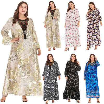 Plus Women Muslim Loose Print Floral Dress Vintage Jilbab Cocktail Party Kaftan