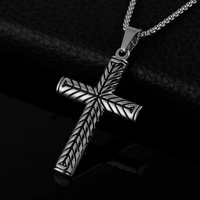 Men's Vintage Black Silver Tone Stainless Steel Religious Cross Pendant Necklace