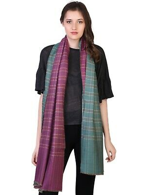 99ab8feb37a55 Made in Kashmir 100% Handspun Cashmere Women Check Reversibl Scarf Shawl  KASHFAB