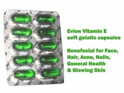 Vitamin E 400 mg Capsules For Face Hair Acne Nails EVION by MERCK
