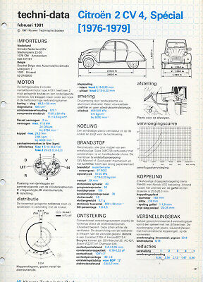 Citroen 2 CV 4, Special  1976-1976 Technical Datasheet Kluwer Dutch