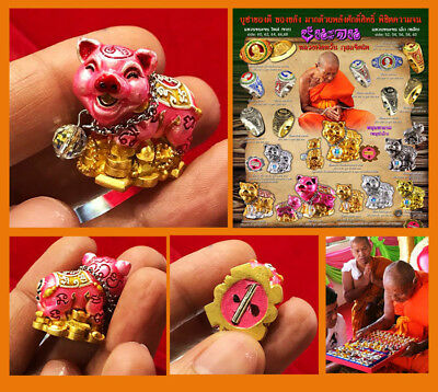 """Thai Amulet Charm Pig Pink MahaLap power Takrud Fortune """"Win Poverty"""" By Lp Wan"""