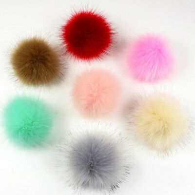 DIY Cute Faux Rabbit Fur Pom Pom Ball Pompoms Knitting Hat Accessories Colorful