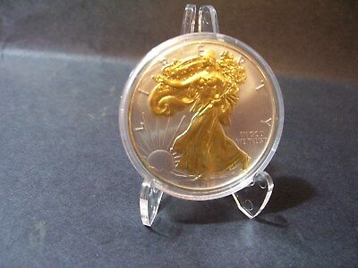 2015 American Silver Eagle 1oz SILVER Coin with 24K GOLD  GILDED, PROOF LIKE :
