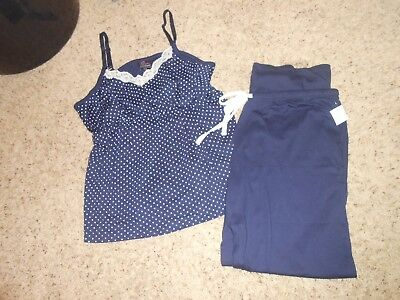 New Oh Baby Maternity Pajama Set Size Large 2pc Pjs Tank/Pants Navy/White $54