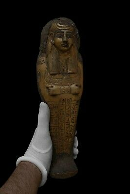 Rare EGYPTIAN STATUE Antiques EGYPT MUMMY Shabti HIEROGLYPHS Gold Paint STONE BC