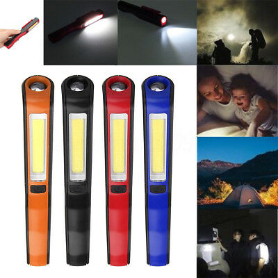 COB LED Magnetic Flashlight Rechargeable Pocket Pen Inspection Work Light w/Clip
