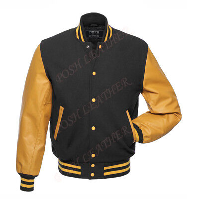 1f79a94ff PORSCHE DESIGN BLACK Leather Wool Varsity Bomber Racing Jacket Men's ...
