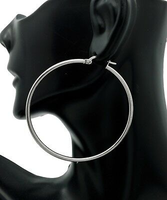 14k Solid White Gold big Large hoop Plain Earrings 50mm x2mm. 2.8gr