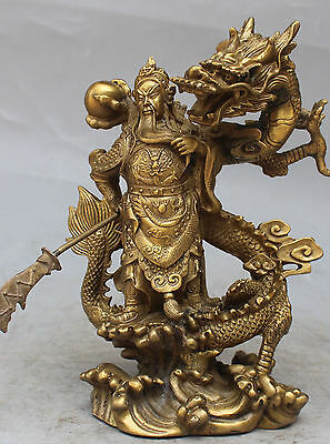 "10""Chinese Fengshui Bronze Guan Gong Yu Warrior God Sword Stand in Dragon Statue"