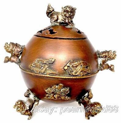 chinese old handwork copper incense burner carved dragon phoenix kirin
