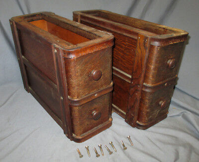 Pair Antique 1915 Oak Singer Treadle Sewing Machine Double Drawers 66 Red Eye