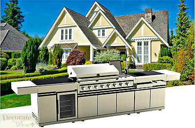 BBQ GAS GRILL 12 Ft ISLAND OUTDOOR 8 Burner Rotisserie Sink Cooler Stainless New