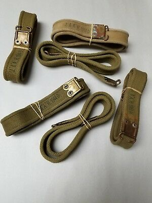 British Enfield Wwii Khaki Sling With Brass Tips.