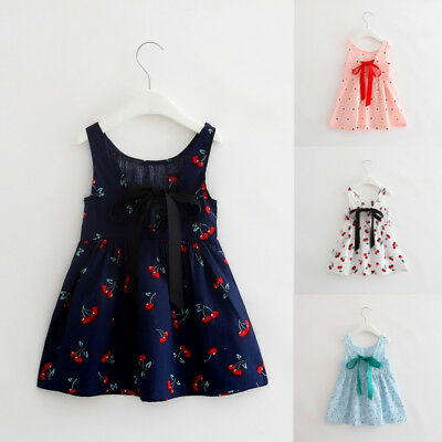 Flower Dress Princess Cherry Pageant Floral Kids Girls Party Wedding Toddler