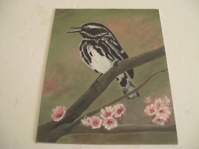 """VintageOriginal Acrylic Painting""""Small Bird on Branch w/Cherry Blossoms-Unsigned"""