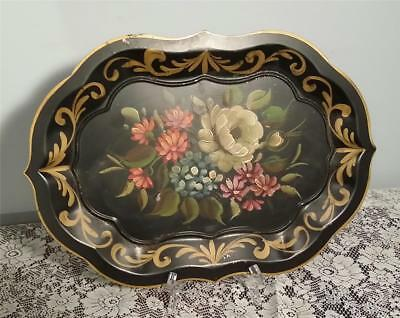 """Vintage Shabby Chic Country Tole Ware Tray Hand Painted 18 1/4"""" X 13"""" Primitive"""