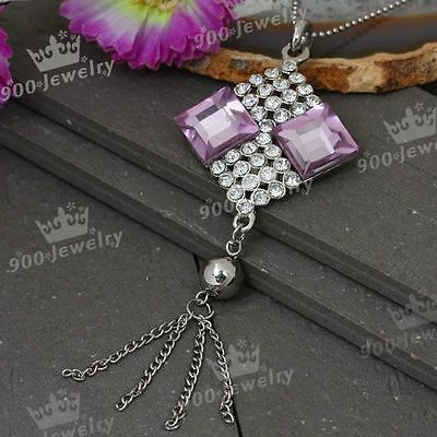 Silver Plated Clear Crystal Square Bead Pendant