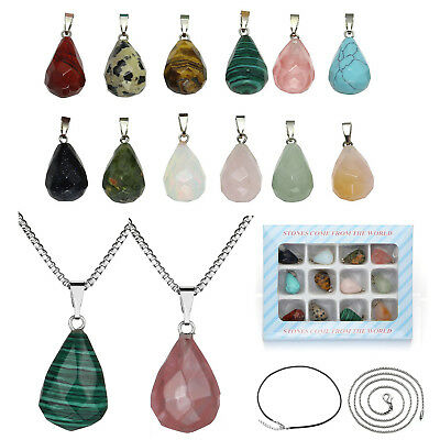 "Set Natural 12pcs Tumbled Stone 0.51*0.87"" Water Drop Pendant 2pcs Necklace Gift"