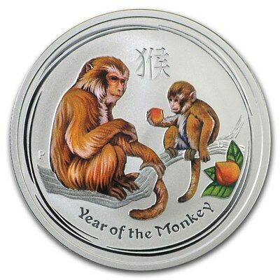 AUSTRALIA 50 Cents 2016 Silver 1/2 oz BU Colorized Year of the Monkey in capsule