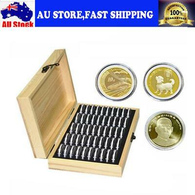 Round 50 Storage Box Coin Storage Wooden Box Coin Coin Boxes Collection Containe