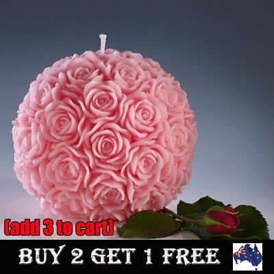 3D Rose Flower Ball Shaped Candles Wedding Party Valentines Dinner Table Decors