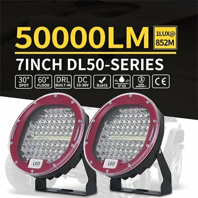 Pair 7inch CREE LED Driving Lights Round Spotlights 12V 24V Offroad 4x4 RED DRL