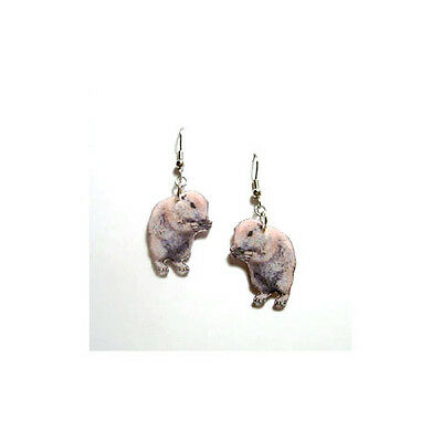 Groundhog Ground Hog Dangle Earrings Handcrafted Plastic Made in USA