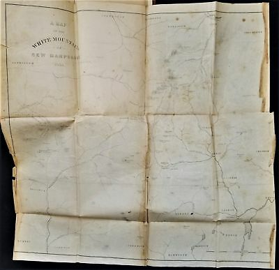 1856 antique WHITE MOUNTAIN nh HISTORY foldout MAP indian willey fam geology