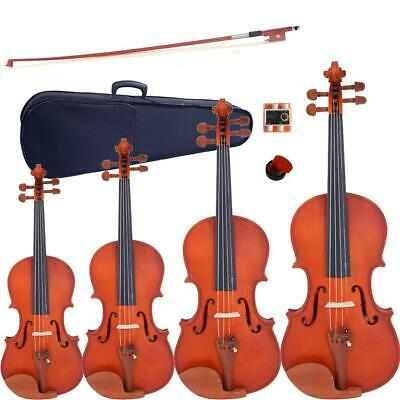 4/4 3/4 1/4 1/2 Matte Maple Acoustic Violin Fiddle +Case+Bow+Rosin+Tuner+Strings